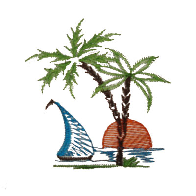 Sunset, Sailboat, Palmtree Embroidery Decoration