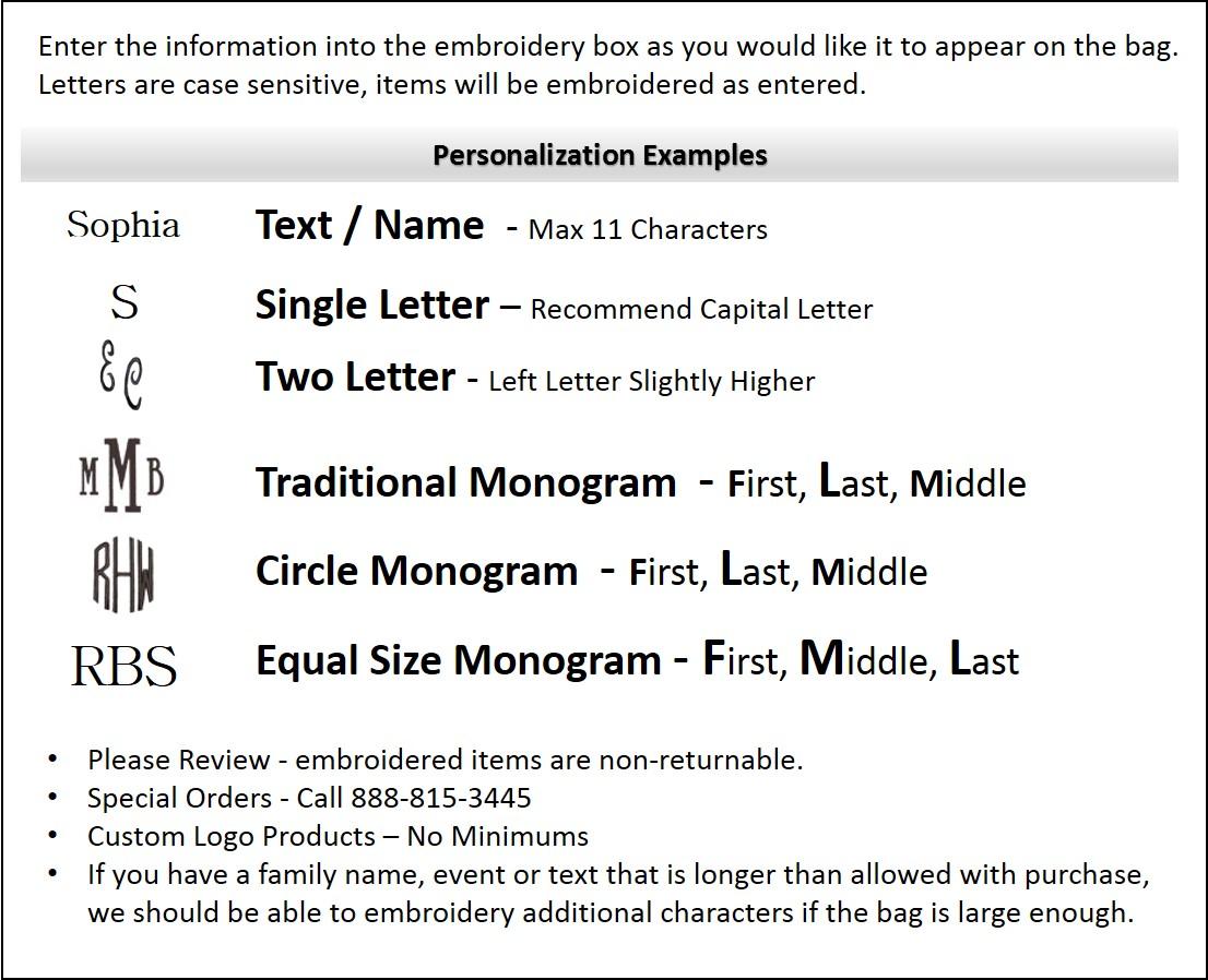 Embroidery & Monogram personaization guide